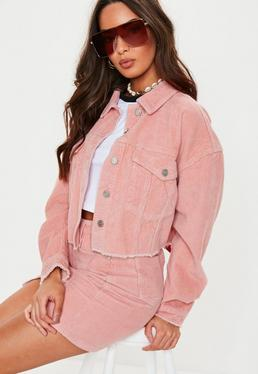 8e342e3690 Pink Co Ord Cord Cropped Oversized Jacket