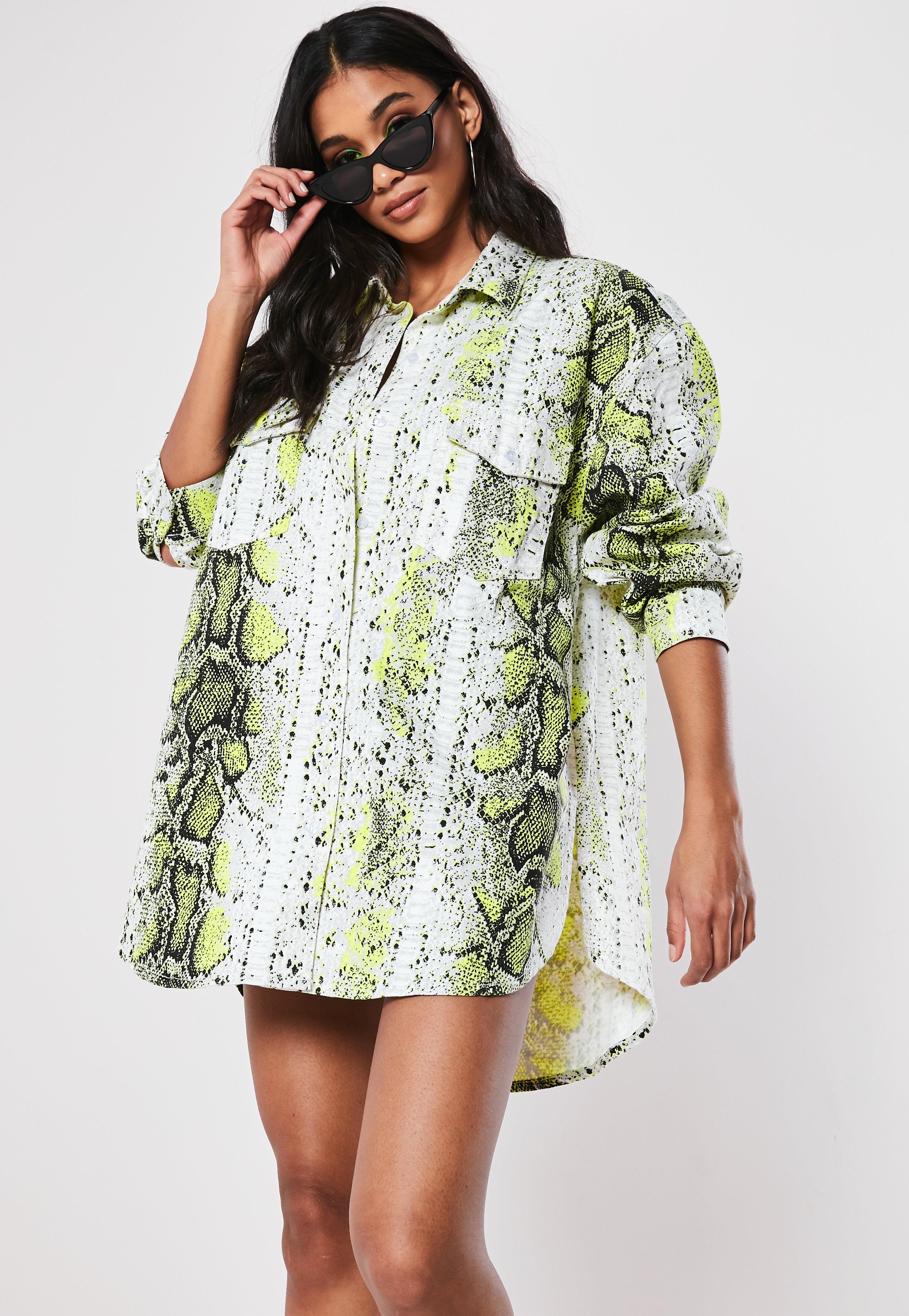 9e8c609e79 Neon Green Snake Print Oversized Denim Shirt