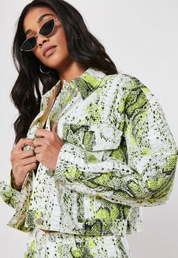 dbf3f784008 Neon Green Snake Print Co Ord Cropped Denim Jacket