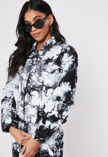 Black Tie Dye Co Ord Cropped Denim Jacket by Missguided