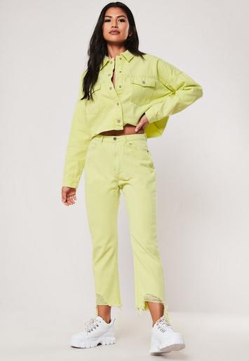 Yellow Neon Washed Co Ord Cropped Utility Pocket Denim Shirt by Missguided