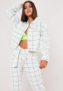 a13fe1ba White Oversized Denim Jacket · White Grid Print Co Ord Denim Jacket