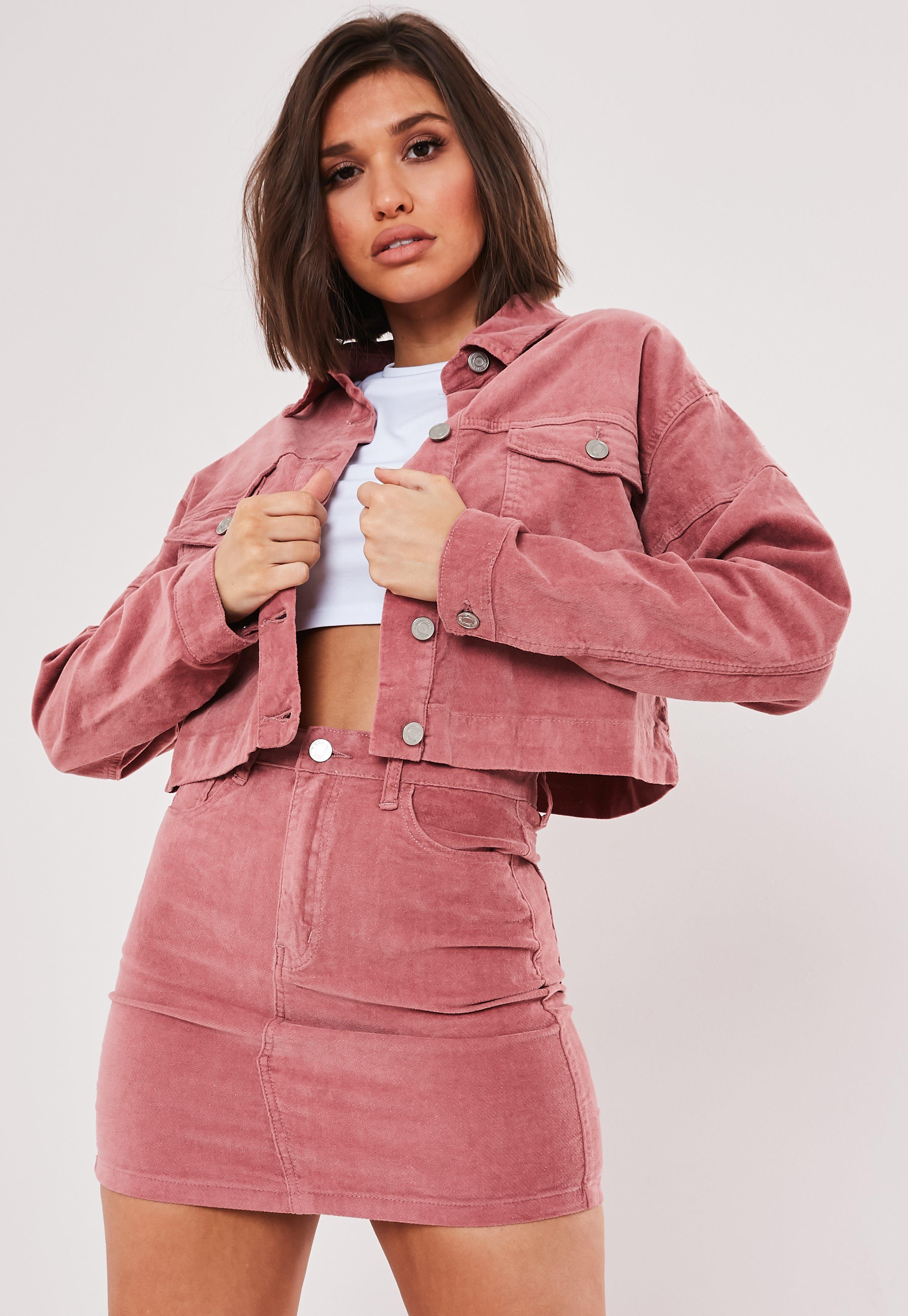 Pink Co Ord Velvet Cropped Jacket by Missguided