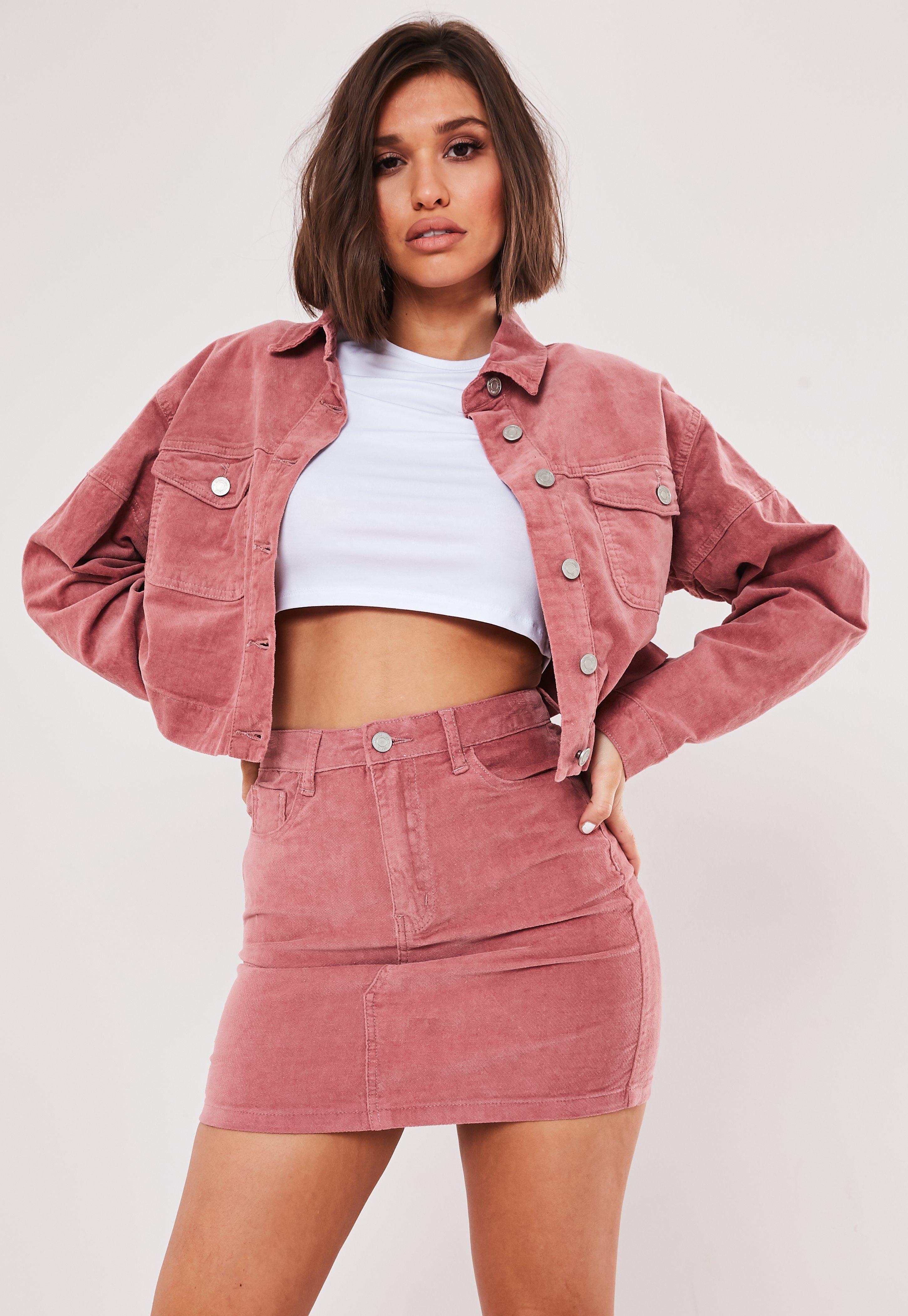 Pink Co Ord Velvet A Line Mini Skirt by Missguided