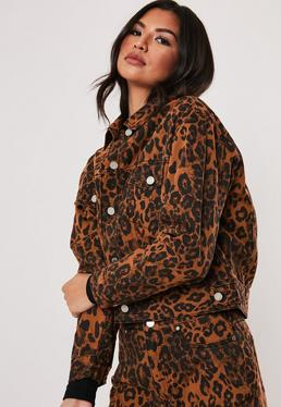 Коричневый леопардовый принт Co Ord Джинсовая куртка
