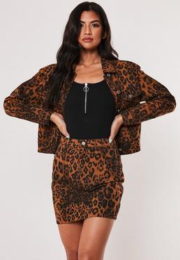 Коричневая мини-юбка с леопардовым принтом Co Ord Denim