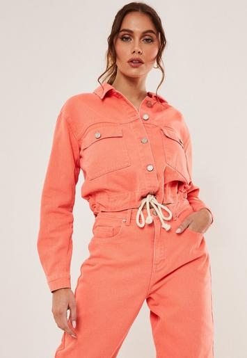 Orange Co Ord Rope Waist Detail Cropped Denim Jacket ...