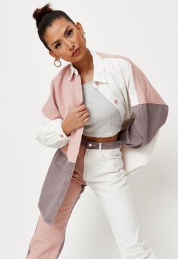 Pink Colorblock Oversized Denim Shirt   Missguided