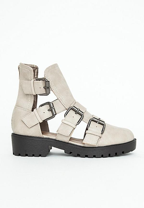 Amy Faux Leather Multi Buckle Ankle Boots In Stone