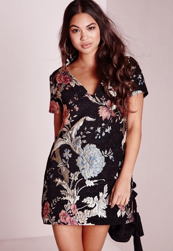Floral Brocade Plunge Shift Dress Black