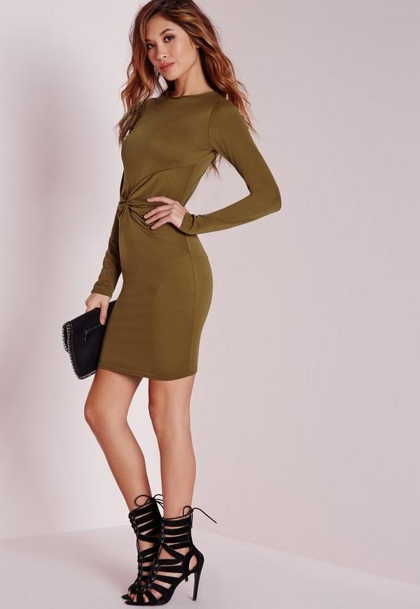 Long Sleeve Twist Front Bodycon Dress Olive