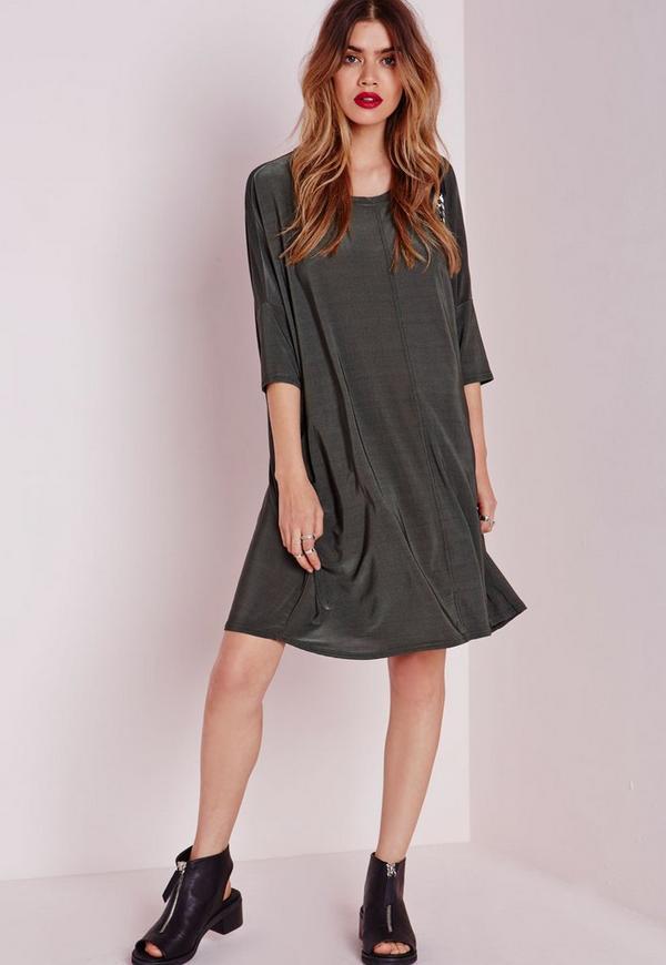 Oversized Slinky T-Shirt Dress Khaki