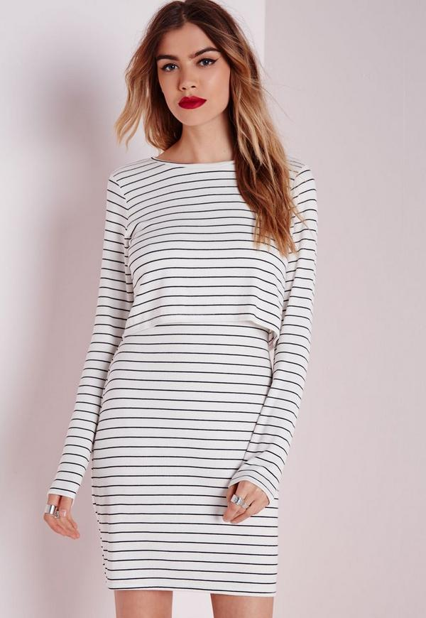 Long Sleeve Layered Bodycon Dress Cream Stripe