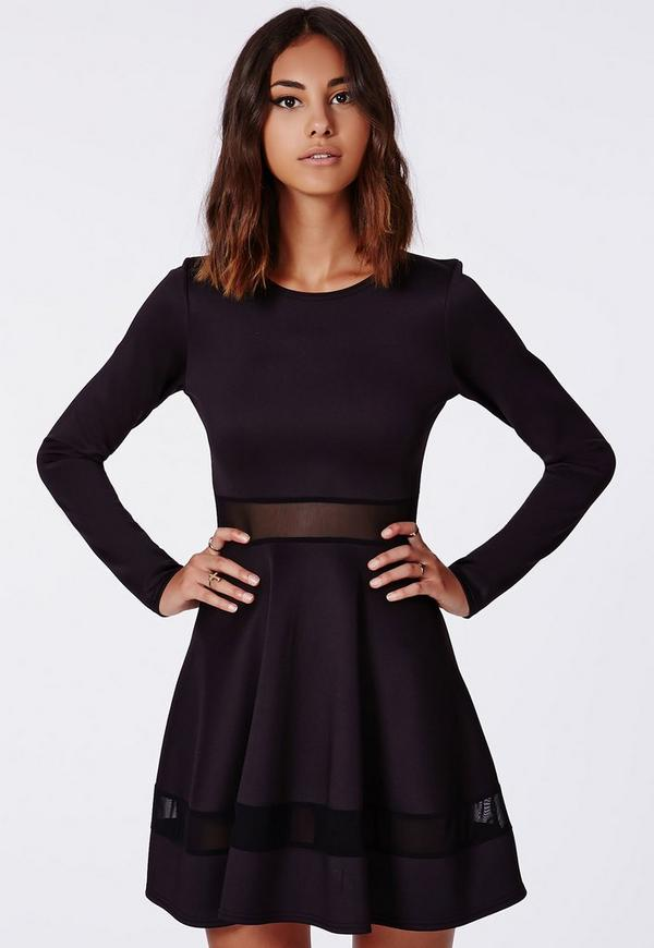 Patsy Mesh Panel Skater Dress Black