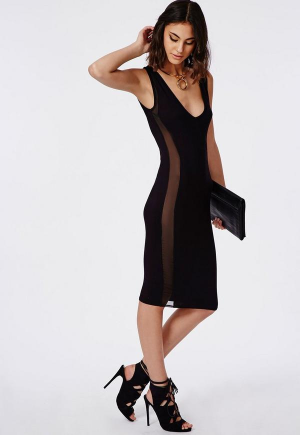 Jersey Mesh Detail Midi Dress Black