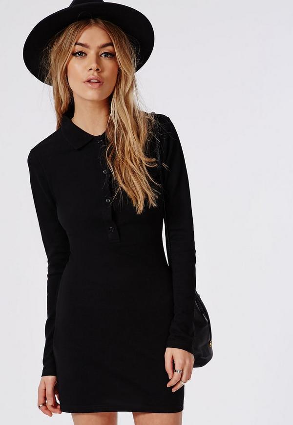 Button Front Polo Collared Bodycon Dress Black