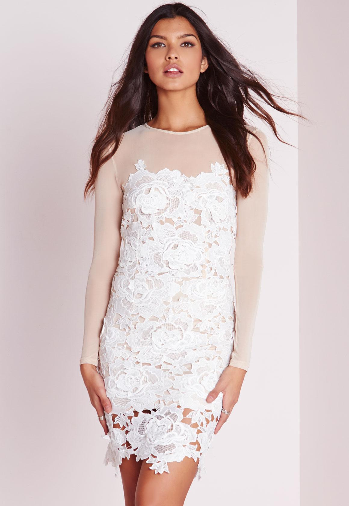 Floral Lace Mini Dress Nude   Missguided