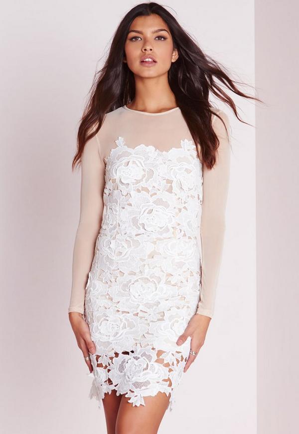 Floral Lace Mini Dress Nude