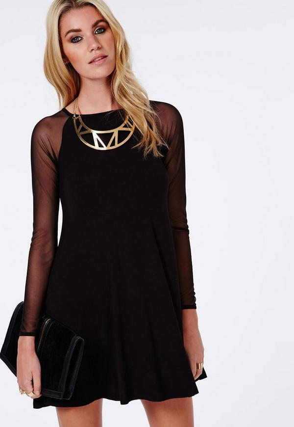 Raglan Mesh Sleeve Swing Dress Black