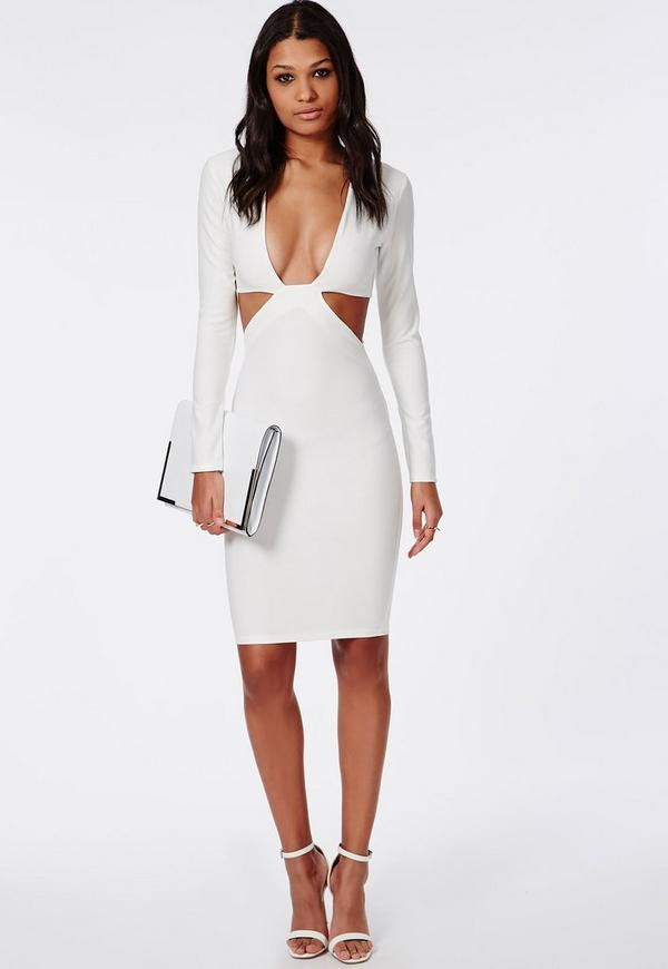 Cut Out Long Sleeve Midi Dress White