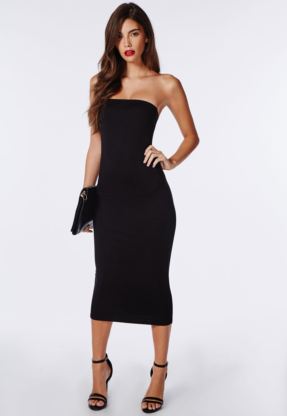 Strapless Jersey Bodycon Midi Dress Black - Dresses - Bodycon ...