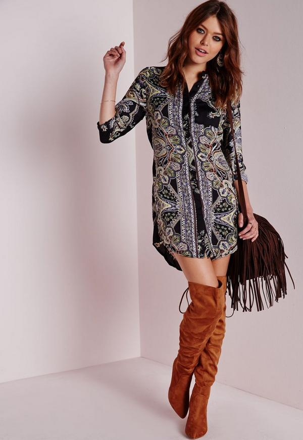 Gretta Shirt Dress Paisley Print