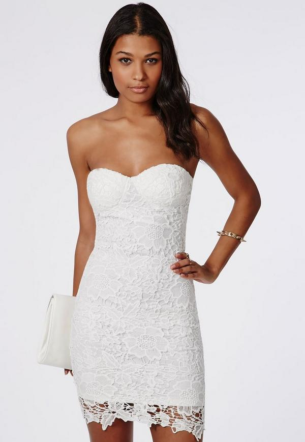 White strapless bandeau dress jersey