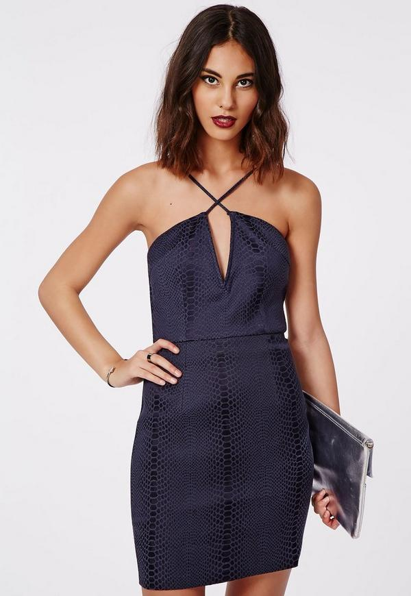 Aideen Snake Jacquard Cross Front Bodycon Dress Navy