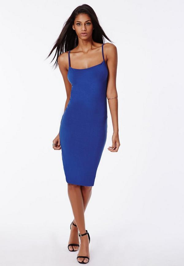 Low Back Strappy Jersey Midi Dress Cobalt Blue