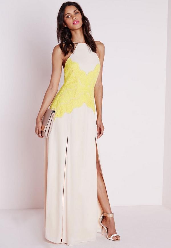 Halterneck Lime Lace Maxi Dress Nude