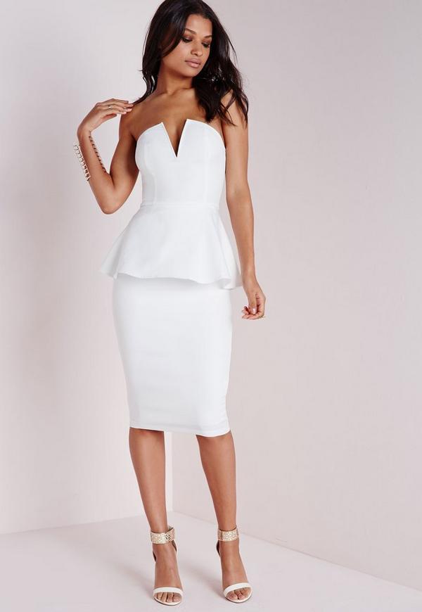 Crepe Peplum Midi Dress White