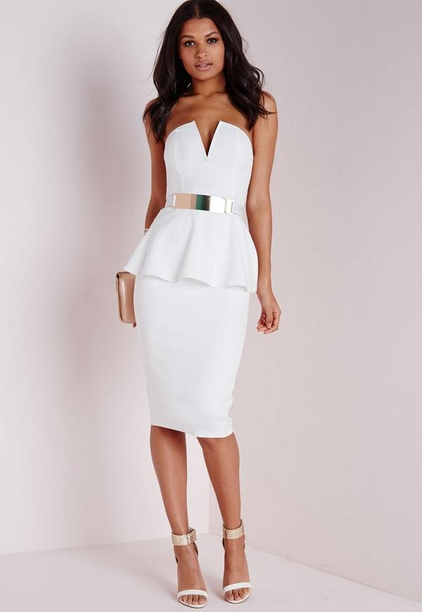 Crepe Peplum Midi Dress White | Missguided