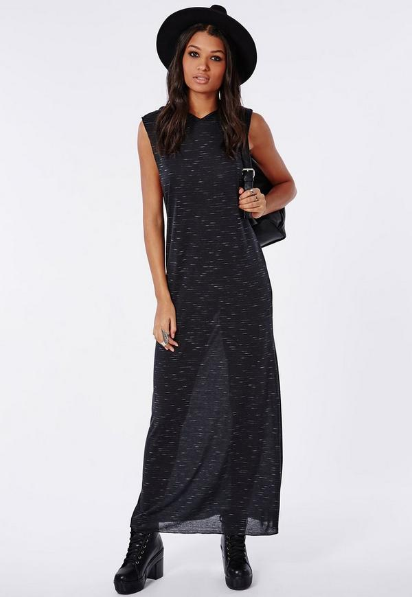 Hooded Maxi Dress Black