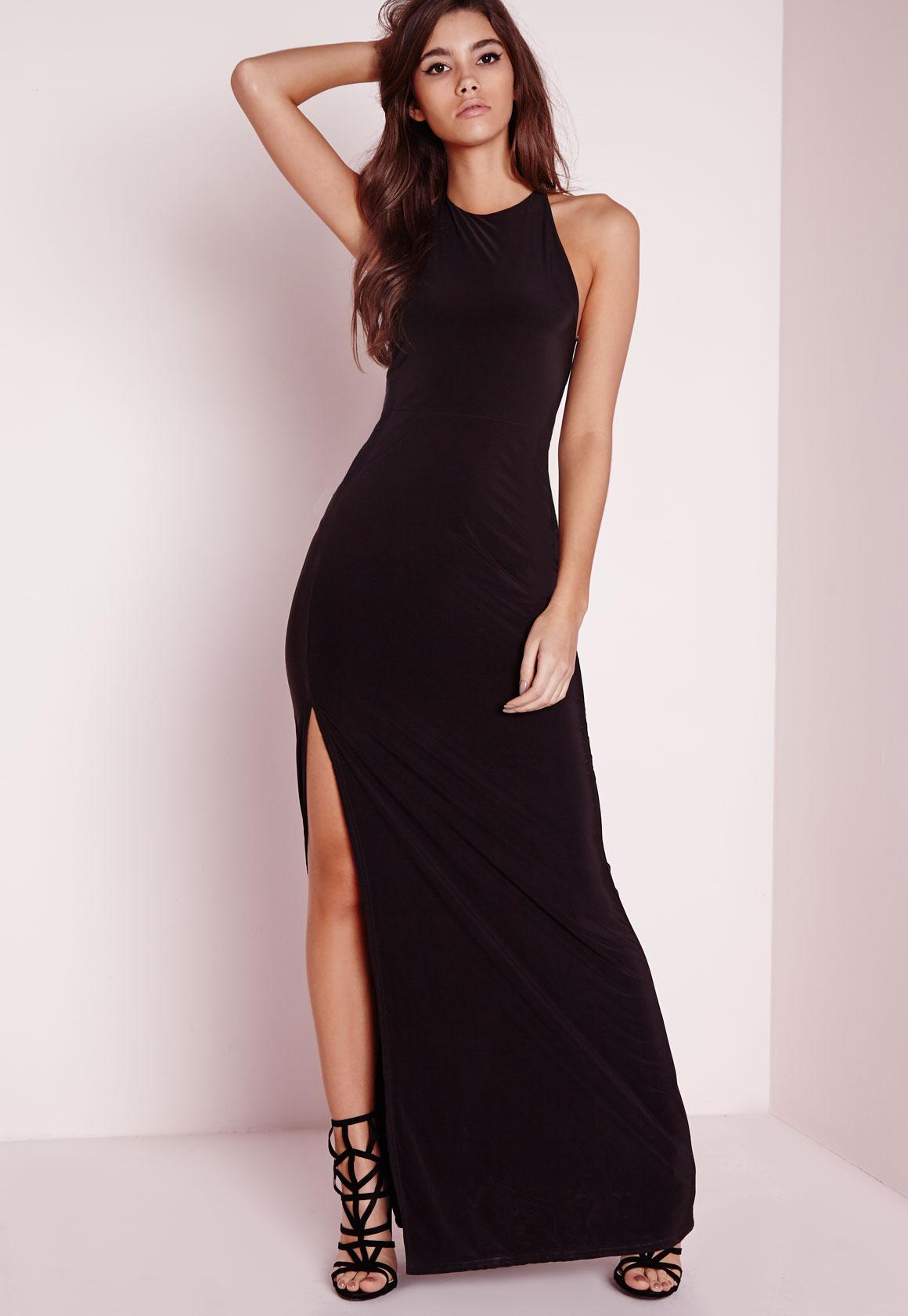 Slinky Side Split Maxi Dress Black | Missguided
