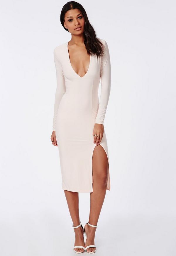 Side Split Slinky Midi Dress Nude