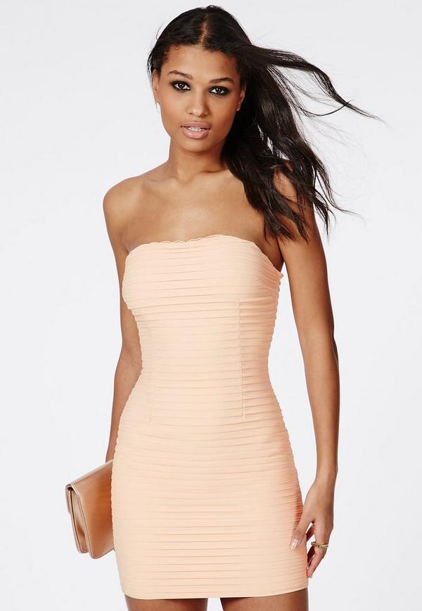 Catherine Crinkle Chiffon Mini Dress Nude