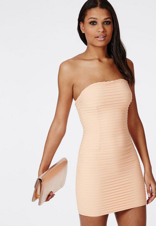 Catherine Crinkle Chiffon Mini Dress Nude - Dresses - Mini Dresses ...
