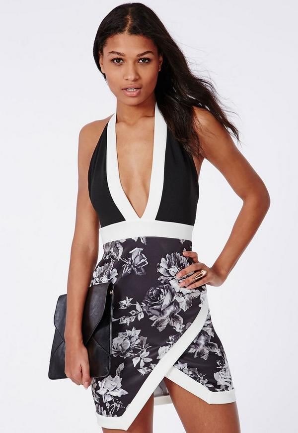 Jewel Scuba Bodycon Dress Black Floral