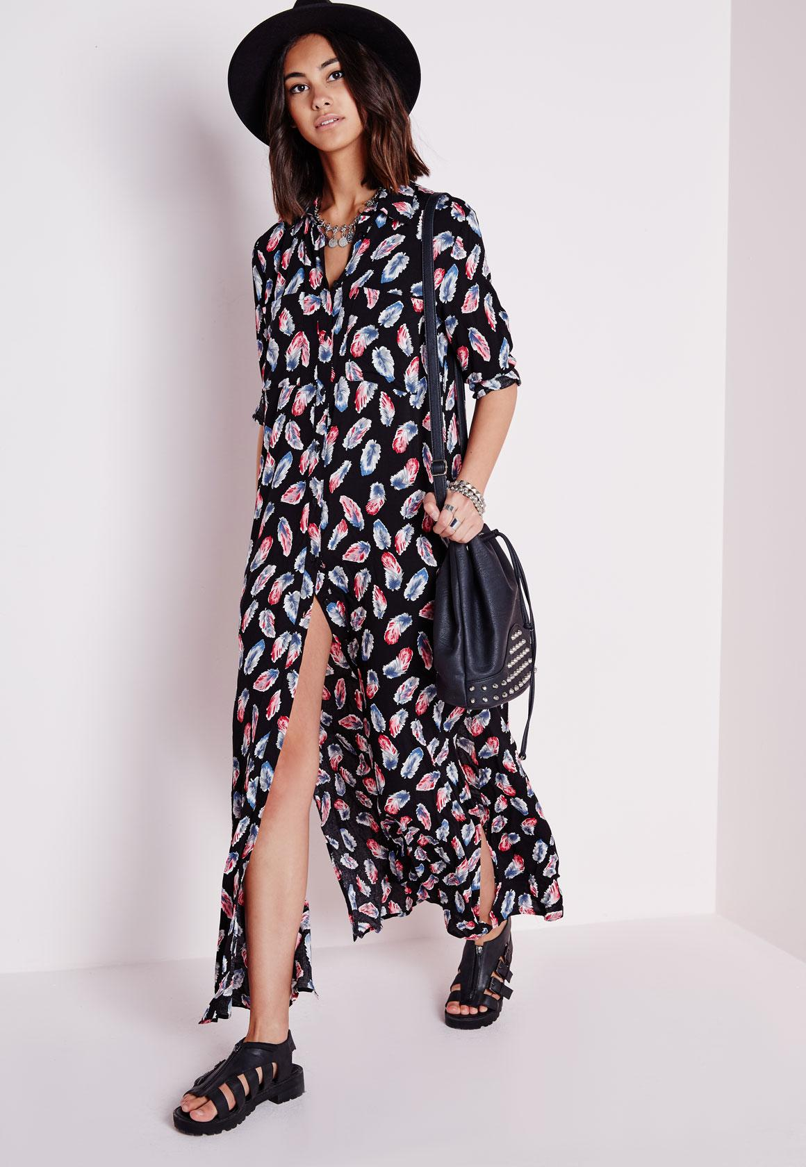 Cotton Maxi Shirt Dress Black Feather Print | Missguided