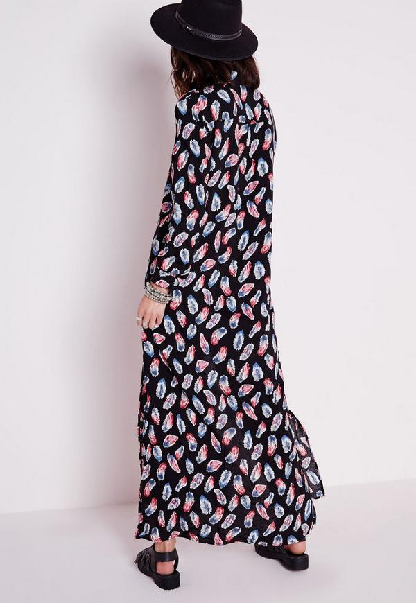 Cotton Maxi Shirt Dress Black Feather Print Missguided