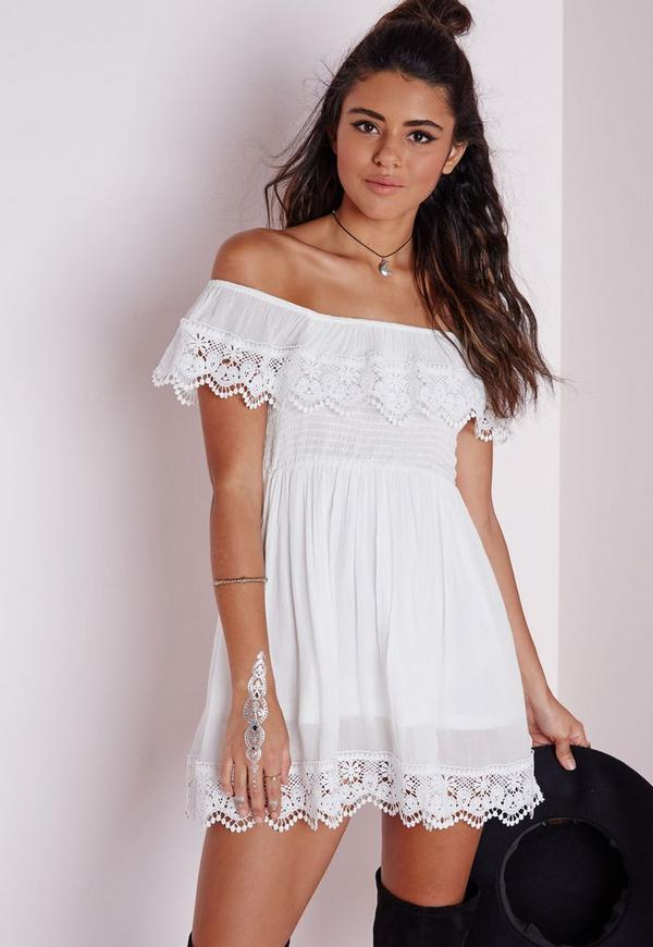 Cheesecloth Crochet Trim Bardot Skater Dress White