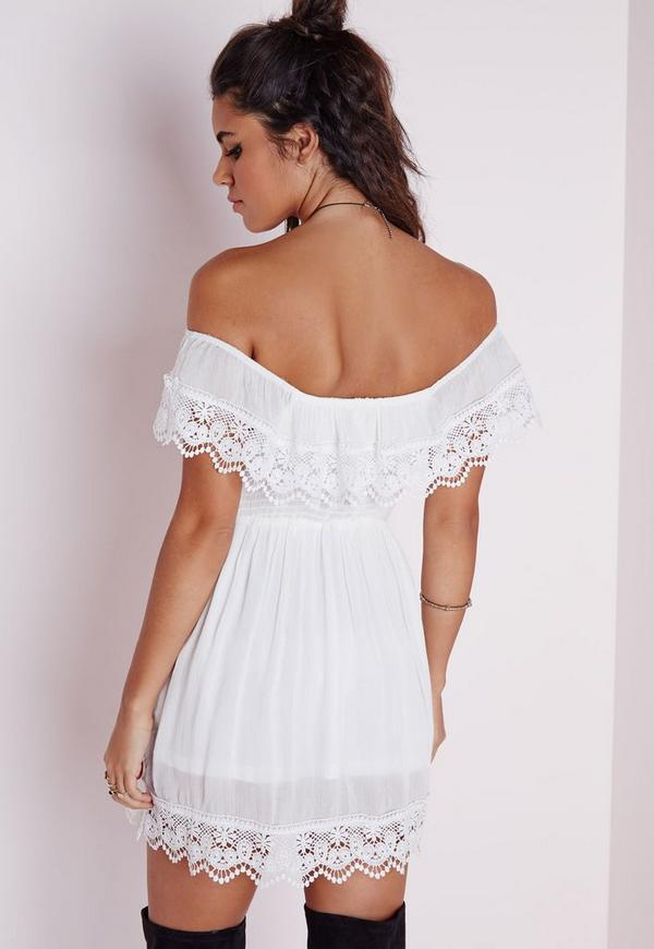 Cheesecloth Crochet Trim Bardot Skater Dress White