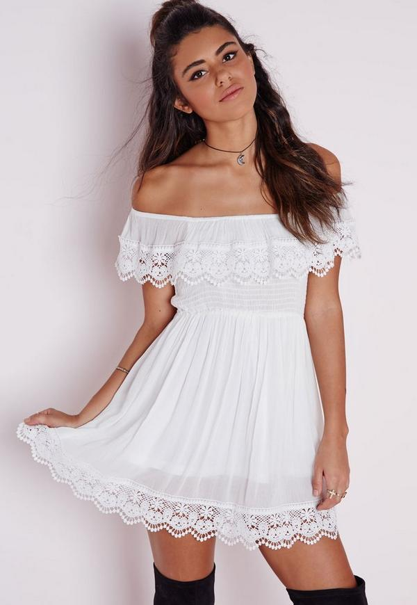 robe patineuse blanche col bateau missguided. Black Bedroom Furniture Sets. Home Design Ideas