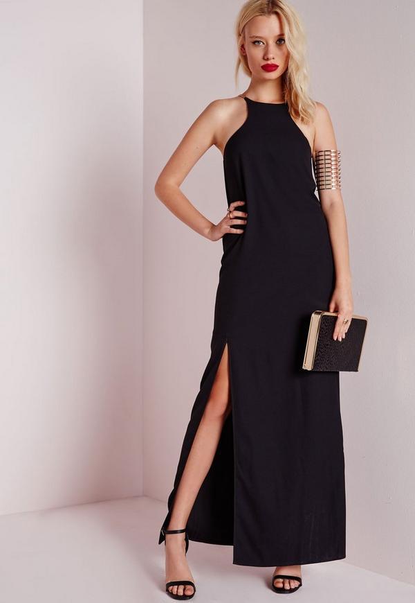 Gold Strap Detail Maxi Dress Black