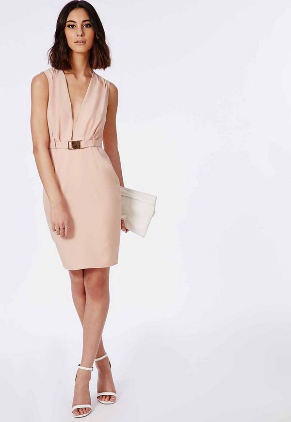 crepe waist plunge midi dress gold belt blush missguided