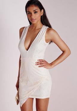 Lace Asymmetric Bodycon Dress Nude