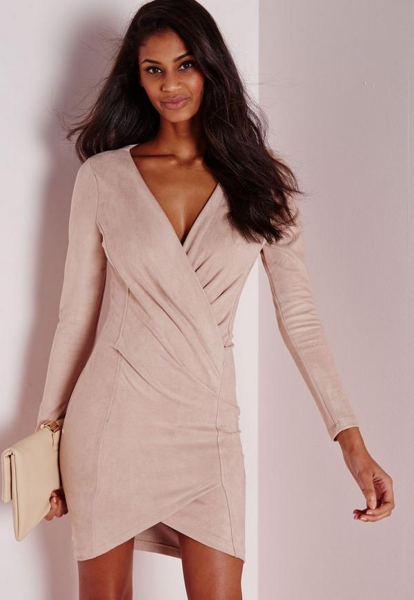 Faux Suede Long Sleeve Wrap Over Dress Nude
