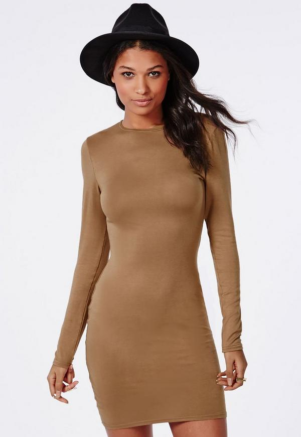 Long Sleeve Jersey Bodycon Dress Camel