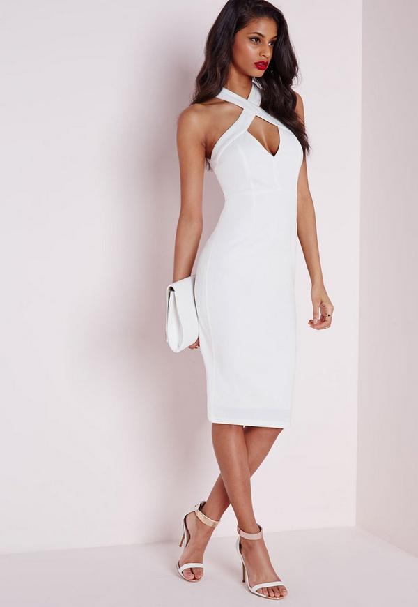Crepe Cross Front Midi Dress White