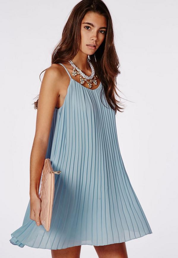 Chiffon Pleated Swing Dress Powder Blue